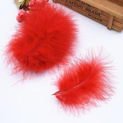 Перья марабу 10-16 см. 20 шт. Красный цвет
