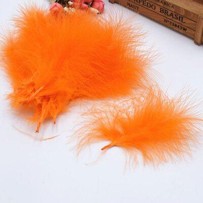 Перья марабу (лебяжьи) 10-16 см. 20 шт. Оранжевый цвет