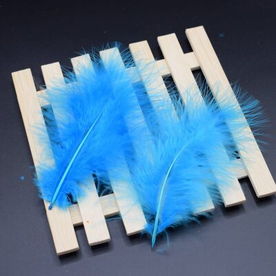 Перья марабу 10-16 см. 20 шт. Голубого цвета