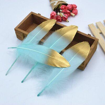 Пушистые перья гуся 15-20 см, 10 шт. Ментоловый с золотом