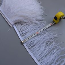 Тесьма из перьев страуса 15-20 см, 1м. Белый цвет