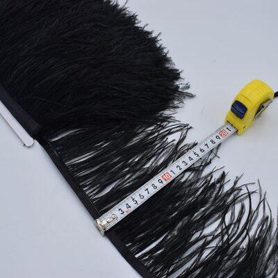 Тесьма из перьев страуса 15-20 см, 1м. - Черный цвет