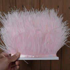 Тесьма из перьев страуса 13-15 см, 1м. - Светло-розовый цвет