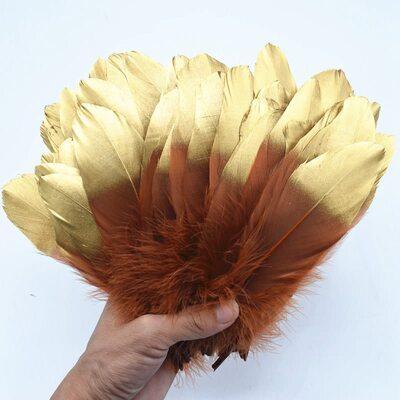 Пушистые перья гуся 15-20 см, 10 шт. Кофейно-золотой цвет