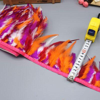 Тесьма из перьев курицы 10-13 см, 1м. - Микс #8
