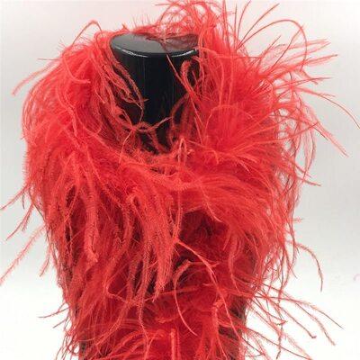 Боа из перьев страуса, однослойное, длинна 2м. - Красные