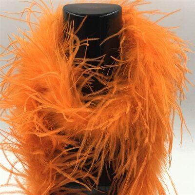 Боа из перьев страуса, однослойное, длинна 2м. - Оранжевые