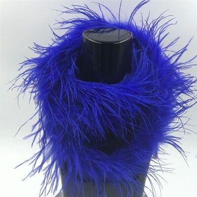 Боа из перьев страуса, однослойное, длинна 2м. - Синего цвета