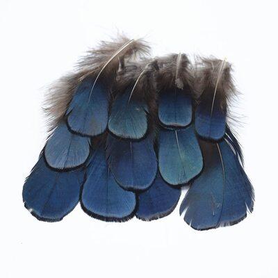 Декоративные перья алмазного Pheasаnt 7-10 см. Голубые. 10 шт.
