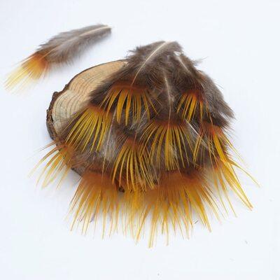 Декоративные перья Pheasаnt 5-7 см. c оранжевым кончиком. 10 шт.