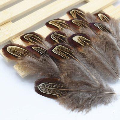 Декоративные перья Pheasаnt разноцветные 5-8 см. 20 шт. Натуральный цвет