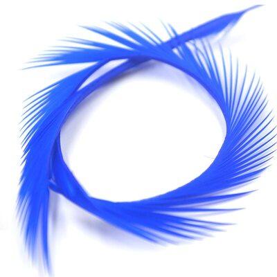 Перья гуся 15-20 см. биот (нити) - 10 шт. Синий цвет