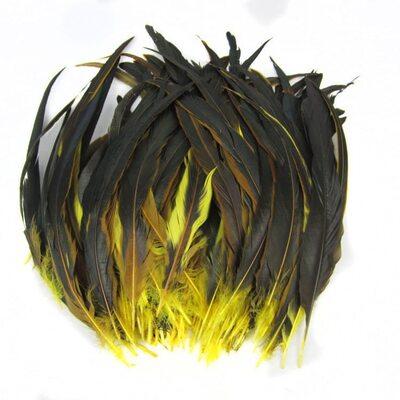 Перья петуха с отливом 30-35 см. Желтый цвет