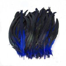 Перья петуха с отливом 30-35 см. Синий цвет