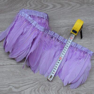Тесьма из перьев гуся 15-20 см, 1м. Светло-фиолетовый цвет