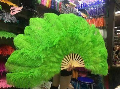 Большой веер из перьев страуса, 1 шт. - Цвета зеленого яблока