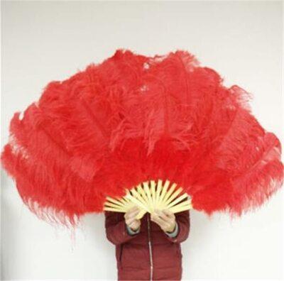 Большой веер из перьев страуса, 1 шт. - Красного цвета