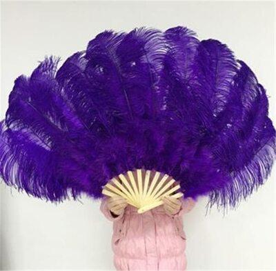 Большой веер из перьев страуса, 1 шт. - Фиолетового цвета