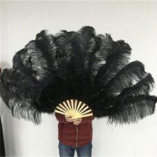 Большой веер из перьев страуса, 1 шт. - Черный цвет