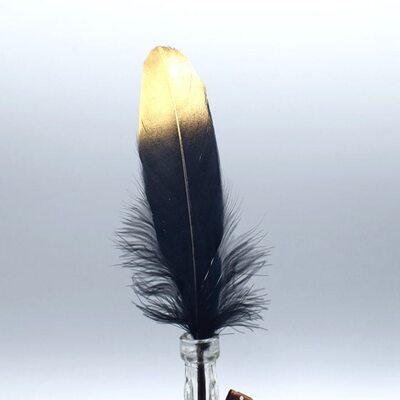 Пушистые перья гуся 15-20 см, 10 шт. Черные с золотистым кончиком