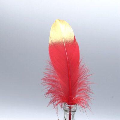 Пушистые перья гуся 15-20 см, 10 шт. Красно-золотого цвета