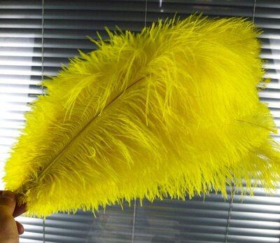 Премиум перья страуса 50-55 см. Желтый цвет