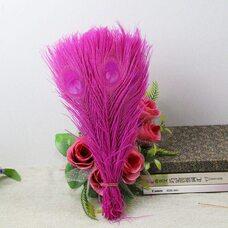 Цветные перья павлина 25-30 см. Цвет фуксия