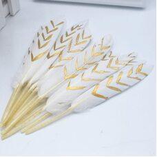 Перья утиные 14-18 см. 10 шт. Бело-золотистые
