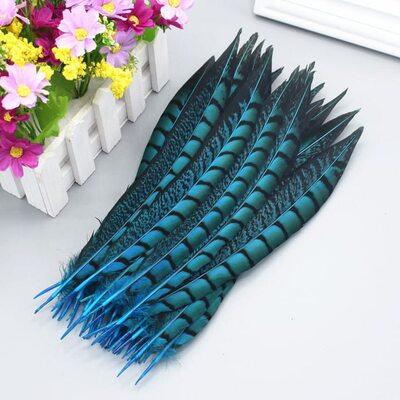 Декоративные перья алмазного Pheasаnt 23-28 см. 1 шт. Голубой цвет