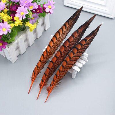 Декоративные перья алмазного Pheasаnt 23-28 см. 1 шт. Оранжевый цвет