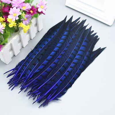 Перья алмазного фазана 23-28 см. 1 шт. Синий цвет
