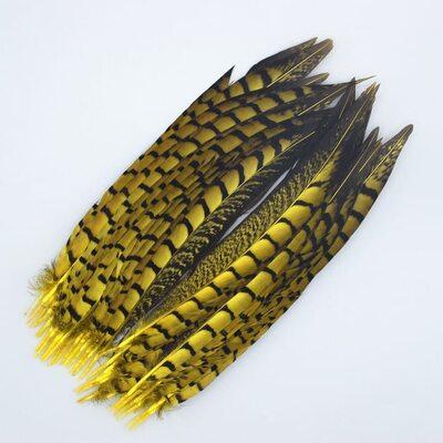 Декоративные перья алмазного Pheasаnt 23-28 см. 1 шт. Желтый цвет