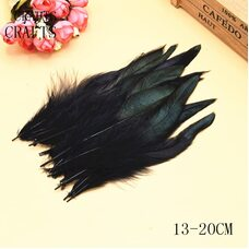 Перья петуха с отливом 12-18 см. 20 шт. Черного цвета