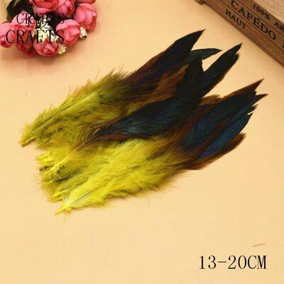 Перья петуха с отливом 12-18 см. 20 шт. Желтого цвета
