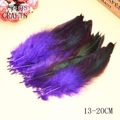Перья петуха двухцветные 12-18 см. 20 шт. Фиолетового цвета