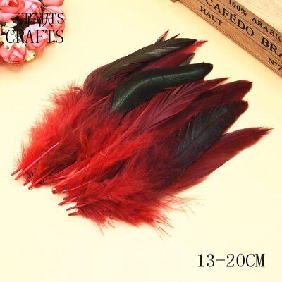 Перья петуха с отливом 12-18 см. 20 шт. Красного цвета