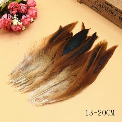 Перья петуха двухцветные 12-18 см. 20 шт. Натурального цвета
