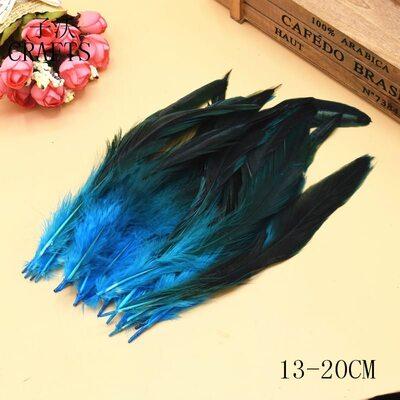 Перья петуха двухцветные 12-18 см. 20 шт. Голубые