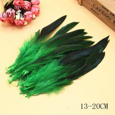 Перья петуха двухцветные 12-18 см. 20 шт. Зеленого цвета