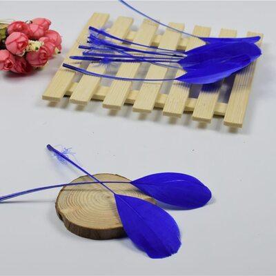 Перья гуся на ножке 13-18 см. 10 шт. Синего цвета