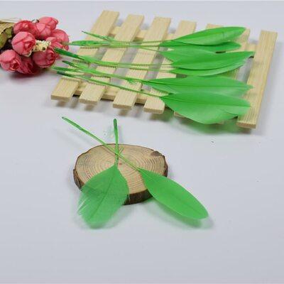 Перья гуся на ножке 13-18 см. 10 шт. Зеленого цвета