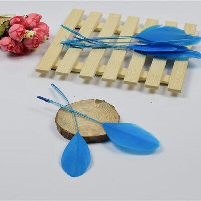 Перья гуся на ножке 13-18 см. 10 шт. Голубого цвета