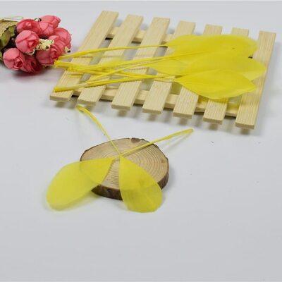 Перья гуся на ножке 13-18 см. 10 шт. Желтого цвета