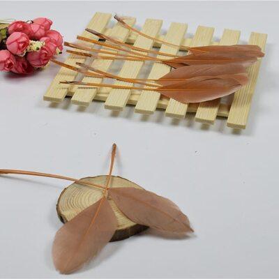Перья гуся на ножке 13-18 см. 10 шт. Коричневого цвета