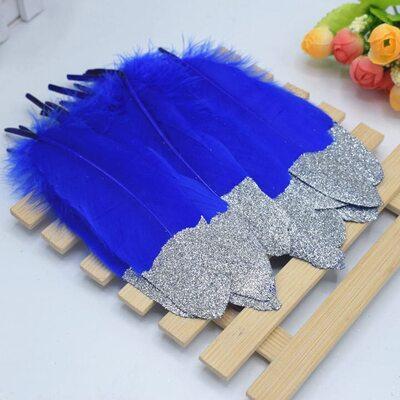 Пушистые перья гуся 15-20 см, 10 шт. Синего цвета с серебрянной крошкой