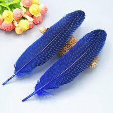 Перья цесарки 17-22 см. 10 шт. Синего цвета