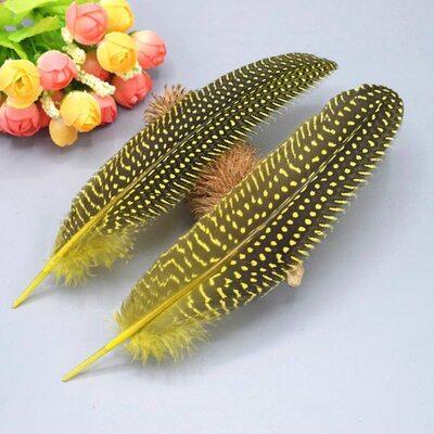 Перья цесарки 17-22 см. 10 шт. Желтый цвет