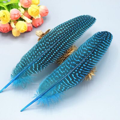 Перья цесарки 17-22 см. 10 шт. Голубой цвет