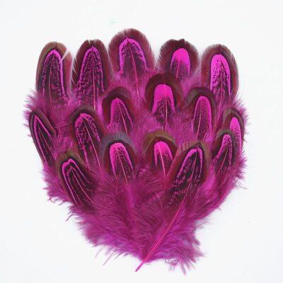 Декоративные перья Pheasаnt разноцветные 5-8 см. 20 шт. Фуксия