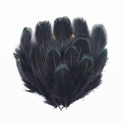Декоративные перья Pheasаnt разноцветные 5-8 см. 20 шт. Черные